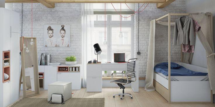 Łóżko 1-osobowe z baldachimem (Biały/dąb) - Łóżka i kanapy - Typy mebli - Meble VOX