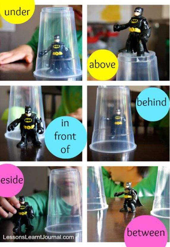 Assignment idea for teaching prepositions. Give kids an object (Lego piece or toy) and they have to go around and take photos of them in, behind, in front of etc different objects.