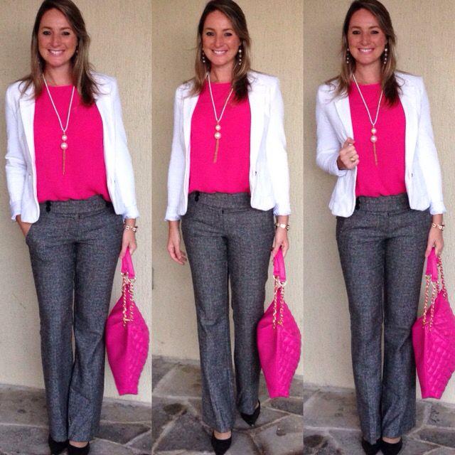 Look de trabalho - look do dia - moda corporativa - calça social - calça alfaiataria - cinza e rosa - pink and grey - calça cinza - blusa rosa - blazer branco