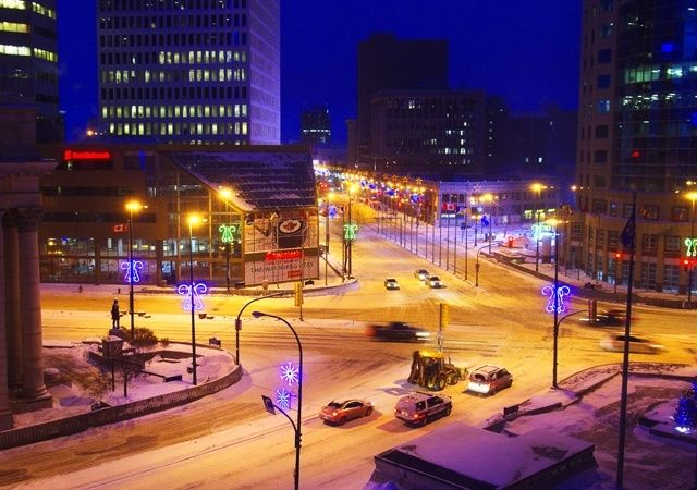 """""""Winnipeg's most famous intersection - Portage and Main - at dawn"""""""