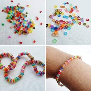 Melt mini Hama/Perler beads in the oven to create a delicate coloured bracelet. Simply spread your beads out on a baking tray and heat for 2 minutes at 200 degrees.