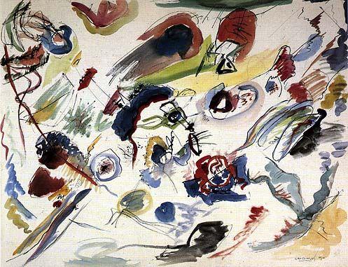 Vasilij Kandinskij; Primo acquerello astratto; 1910; acquarello, matita e inchiostro di china, su carta; Centro Pompidou.