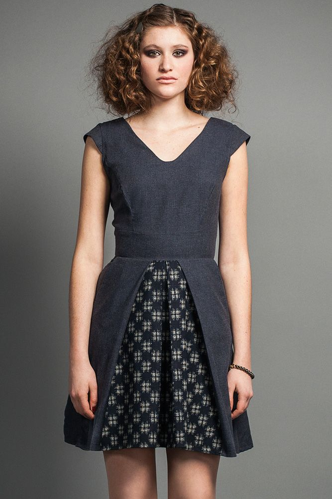 Kazan Dress by Jennifer Glasgow.  Fit and flare dress with pleated combo skirt. Made in Canada.
