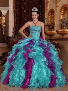 Exclusive Sweetheart Organza Dress for Quince with Beading and Ruffles
