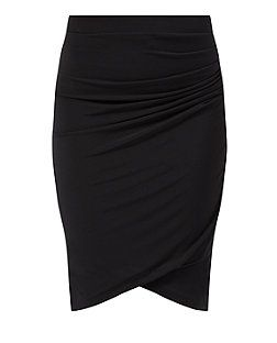 Black (Black) Black Wrap Front Ruched Pencil Skirt  | 323319001 | New Look