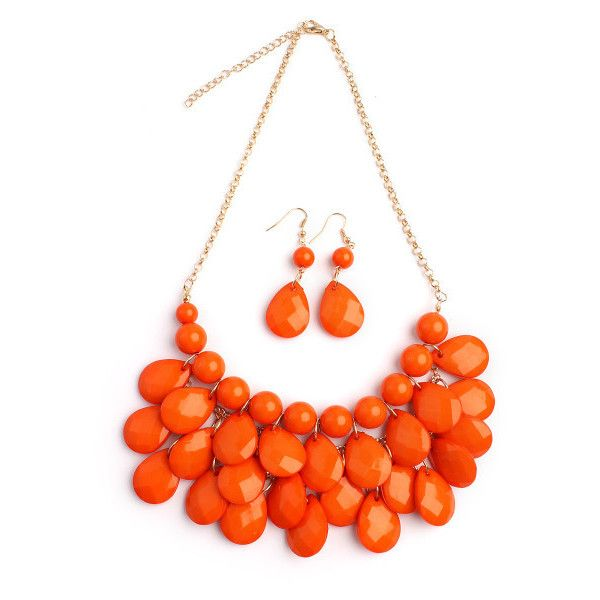 Jesice Teardrop Bubble Bib Necklace Set ($4.99) ❤ liked on Polyvore featuring jewelry, necklaces, coral, jewelry & watches, coral jewelry, tear drop jewelry, bubble necklace, unisex jewelry and coral bib necklace