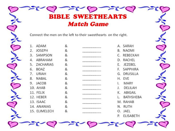 This might be a good game for a meeting with a sweetheart/marriage/valentine theme:  Bible Sweethearts Match Game