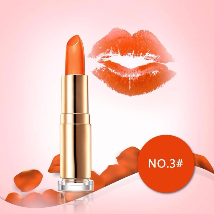 New Girl's Daily Party Date Sexy orange  Magic Jelly Lipstick Temperature Color Changing Long Lasting Gloss Moisturizer #Affiliate