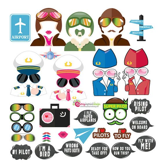 48 Hilarious Pilot Aviation Airplane Flight Travel Photo Booth Props - With Funny Chalkboard Messages - INSTANT DOWNLOAD - DIY Printable
