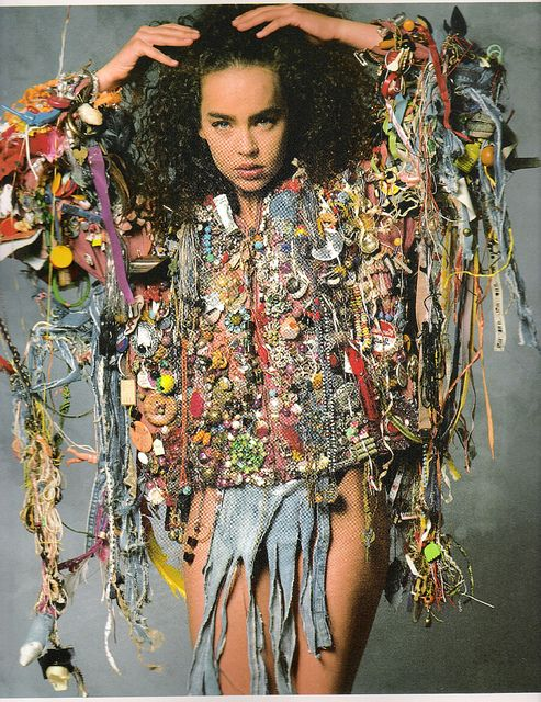 Jacket made of found objects, silk + cotton | Mario Rivoli 1973