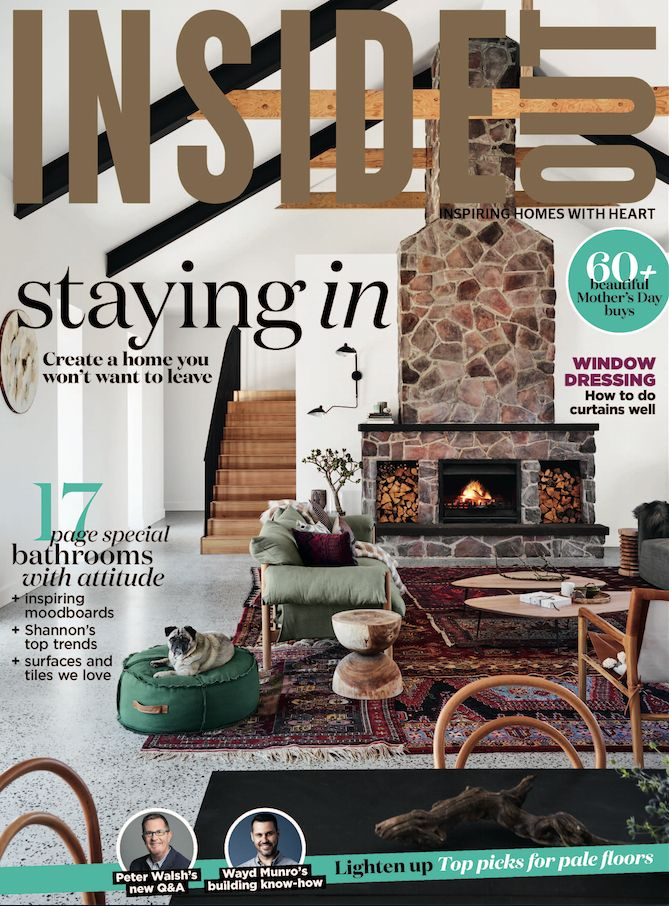 The cover of the May 2017 issue of Inside Out magazine. Photography by Anson Smart.  Available from newsagents, Zinio, https://au.zinio.com/magazine/Inside-Out-/pr-500646627/cat-cat1680012#/  and Nook.