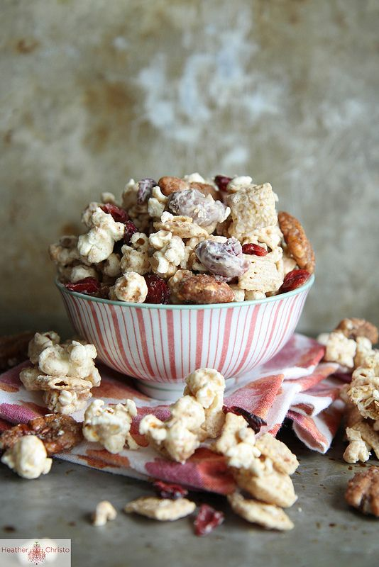 Autumn Spiced Chex Mix with Pecans and Cranberries