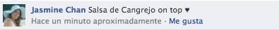 Jasmine Chan nos pidió por Facebook: Salsa de Cangrejo on top ♥