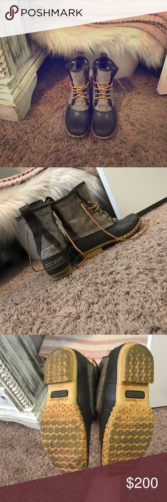 L. L. Bean boots limited edition LL bean duck boots size 7! I wear a size 8 regular so these will fit both a 7 and 8 women's shoe size! Love these and have held on to them for a little over a year now only having worn once (mud on bottom will be cleaned off) but they seem to be highly sought after so I'm trying to let go since I have 2 other pairs! LL bean  Shoes Winter & Rain Boots