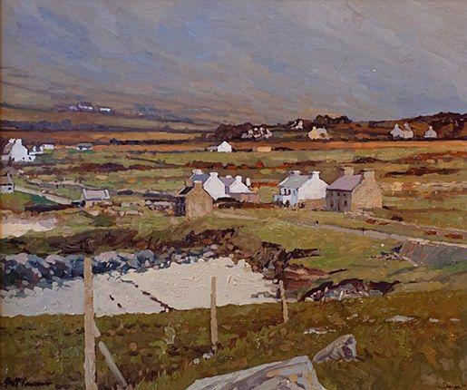 Alex McKenna- Across Dooega Beach  #art #Atalantic #Coast #moutains #water #ocean landscape #Achill #Island #painting #DukeStreetGallery