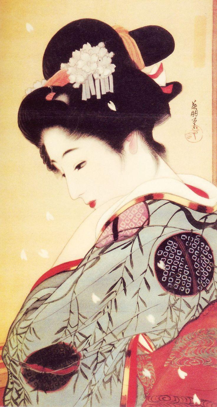 »☆Elysian-Interiors ♕Simply divine #kimono Japanese Kimono ~ Maiko ~ Geisha ~ 鰭崎英朋 Hirezaki Eiho / 花散る宵 大正
