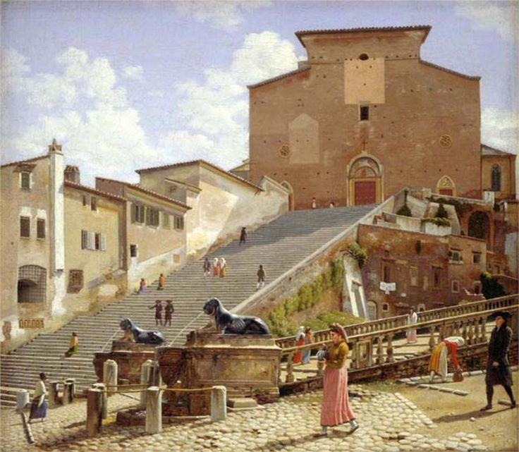 The marble staircase which leads up to S. Maria in Aracoeli in Rome - Christoffer Wilhelm Eckersberg.