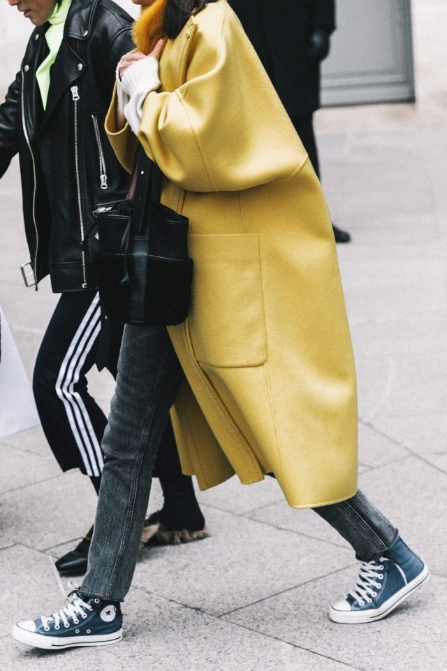 Yellow Coat, Gray Jeans Street style, street fashion, best street style, OOTD, OOTD Inspo, street style stalking, outfit ideas, what to wear now, Fashion Bloggers, Style, Seasonal Style, Outfit Inspiration, Trends, Looks, Outfits.