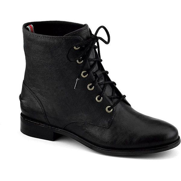Sperry Top-Sider Adeline Boot ($52) ❤ liked on Polyvore featuring shoes, boots, sapatos, black leather, short heel boots, low heel boots, lace up boots, black side zip boots and black shiny boots
