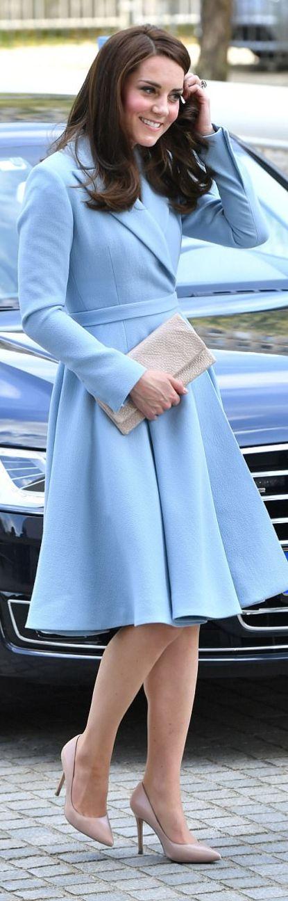 Kate Middleton in Coat – Emilia Wickstead  Necklace – Mappin & Webb  Earrings -Kiki McDonough
