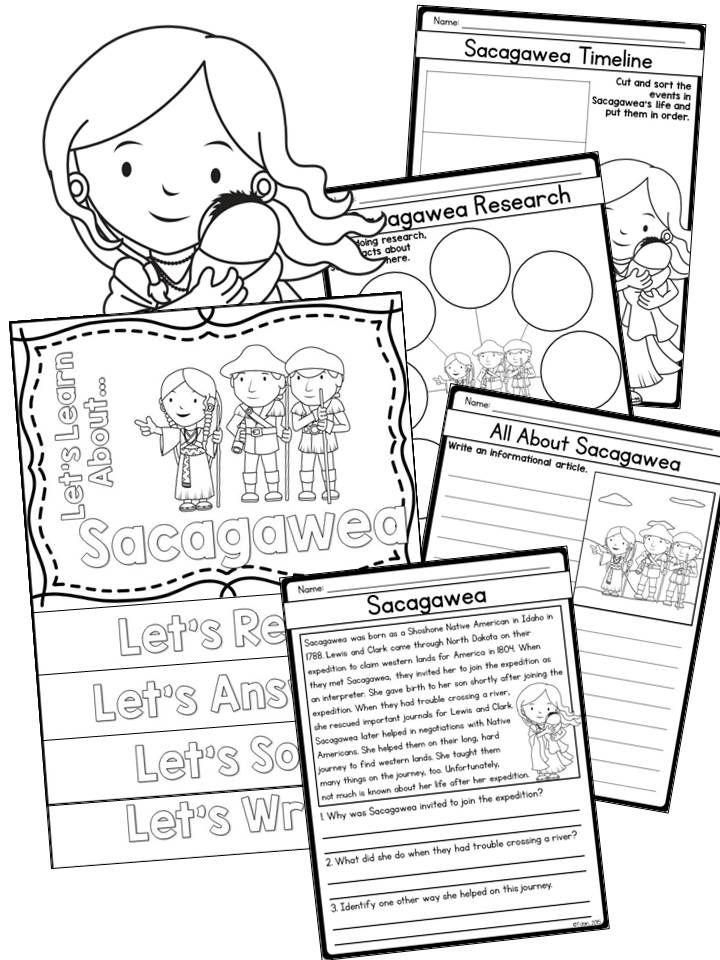 Sacagawea biography set- reading passages, writing and