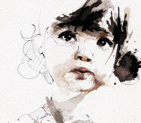 watercolour~this soooo loks like my oldest sister. Louise when she was little, big brown eyes and the cutest face :)