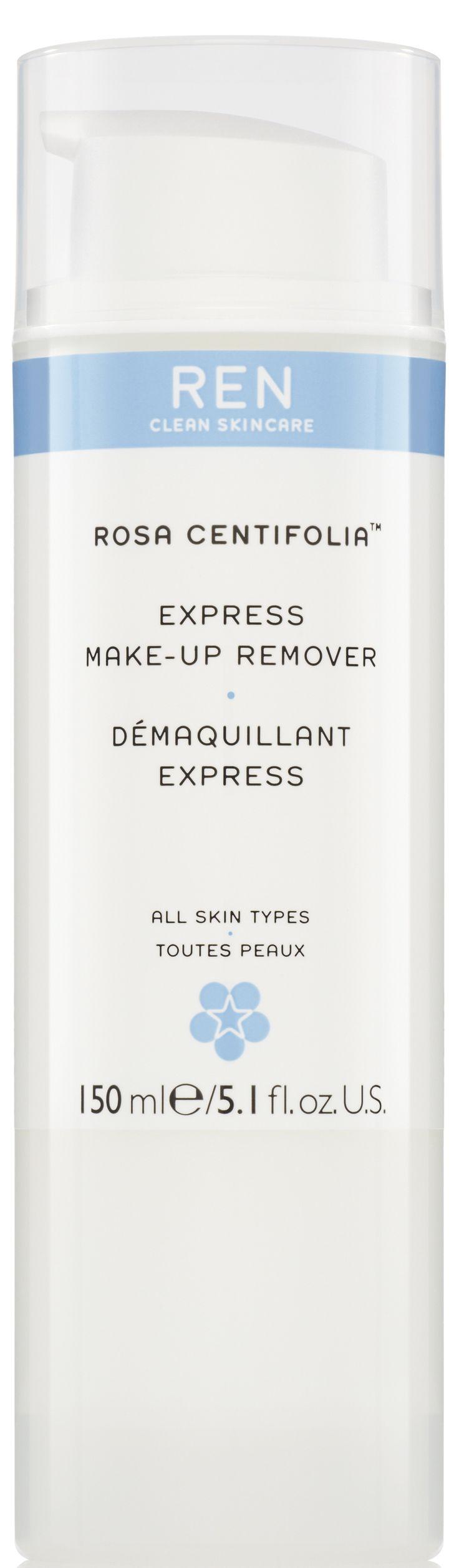 EXPRESS MAKE-UP REMOVER (150 ml)  Eine sanfte Reinigungsmilch, mit einer Mischung aus nährenden Ölen und Blütenwasser, die sanft und mühelos Make-up und sogar wasserfeste Mascara entfernt. Reiskleienöl beruhigt und hydratisiert die Haut, während Tannine aus der Rosa Centifolia die Poren verfeinert. Die Milch hinterlässt ein angenehmes Hautgefühl und ist speziell für trockene und dehydrierte Haut geeignet. http://www.best-kosmetik.de/marken/ren-clean-skincare/reinigung-peeling/express-make-up