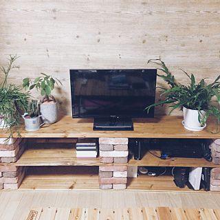 自作テレビ台のインテリア実例 | RoomClip (ルームクリップ) Lounge/観葉植物/ナチュラル/テレビ台/ハンドメイド/DIY/多肉植物