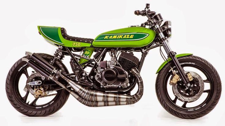 "Kawasaki Cafe Racer | Kamikaze 750 Custom ""Kawasaki Cafe Racer"" named Kamikaze 750 by  TGS Motorcycles, The Kawasaki Cafe racer is Built around a Kawasaki H2 triple 2 stroke engine harnessed on a Kawasaki H1 frame."