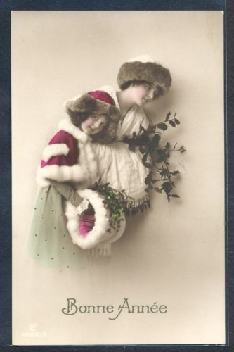 PZ064-Bonne-Annee-New-Year-MOTHER-DAUGHTER-FUR-MUFF-HAT-Tinted-PHOTO-pc