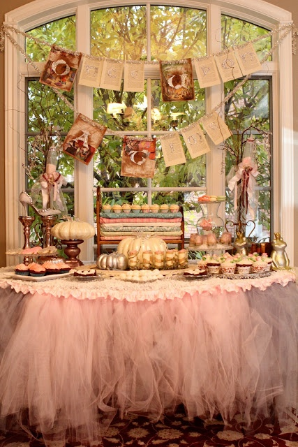 A Little Cuppa Tea: Once Upon A Time Baby Shower _ LOVE tutu table!! Great baby shower idea