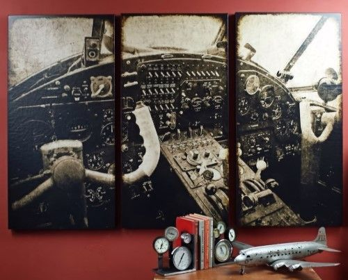 Vintage Aviation Wall Decor : Takeoff large aviation triptych is like looking at a