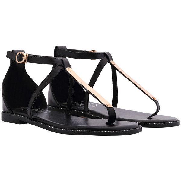 SheIn(sheinside) Black Buckle Strap Metal Embellished Sandals (404.230 IDR) ❤ liked on Polyvore featuring shoes, sandals, flats, black, sapatos, embellished sandals, black sandals, flat shoes, almond toe flats and black flat shoes