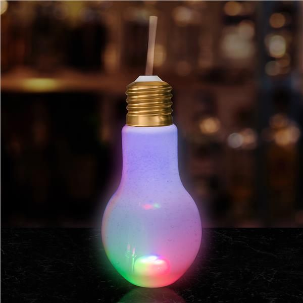 Led Light Bulb Cup With Lid And Straw Rainbow Party Supplies Halloween Party Supplies Holiday Party Supplies