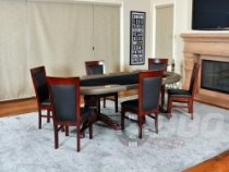 The Premier Premium Poker Table Blue + 6 Matching Dining Chairs