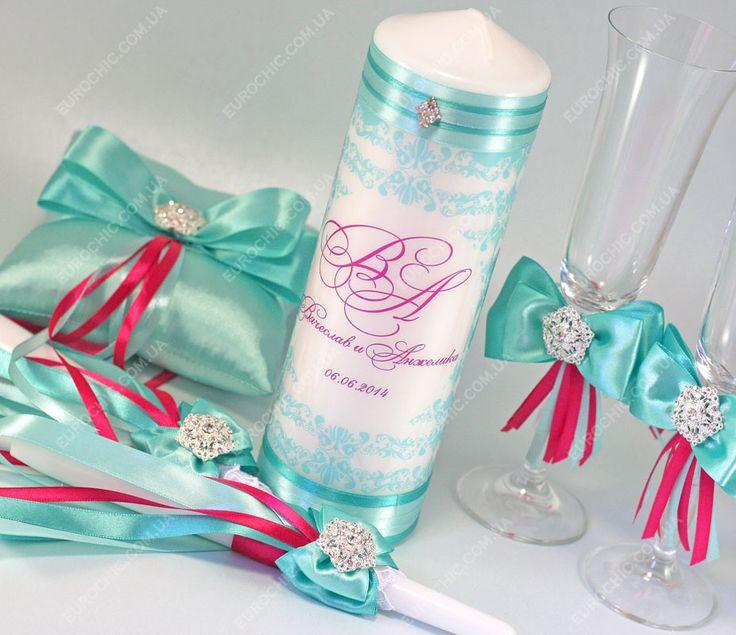 Свадебные аксессуары бокалы свечи Бирюзово-малиновые