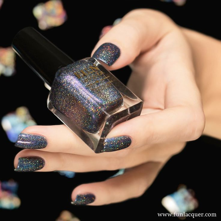 This holographic purple nail polish with touch of grey and gold glitter for lovely polish nails. Collection: New Year 2016 Collection