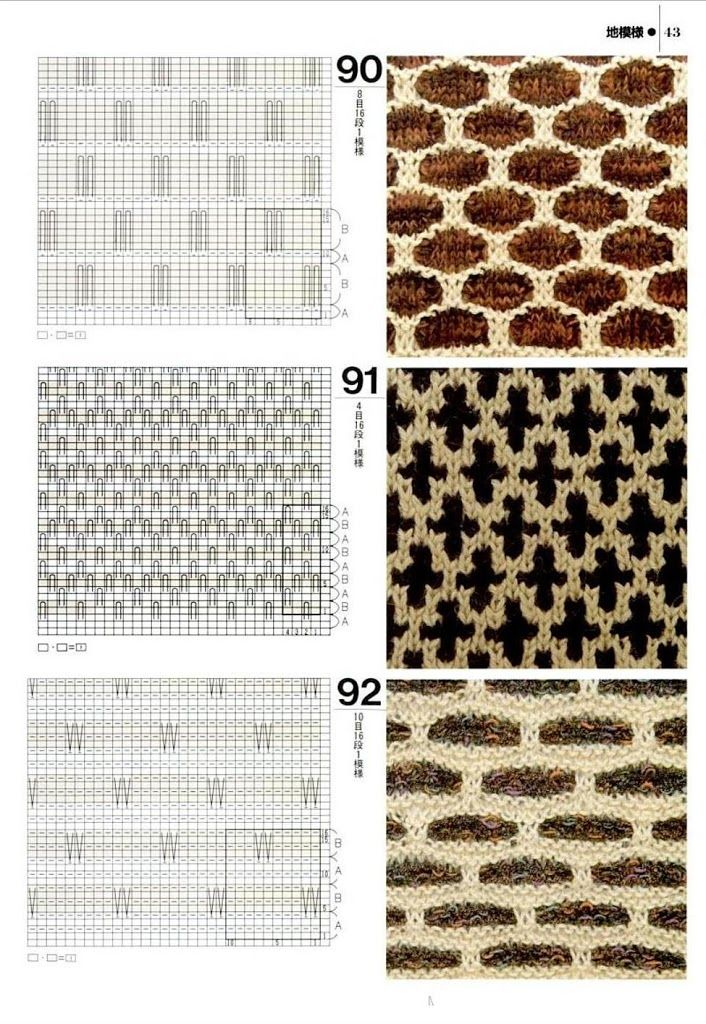 Slip stitch knit charts