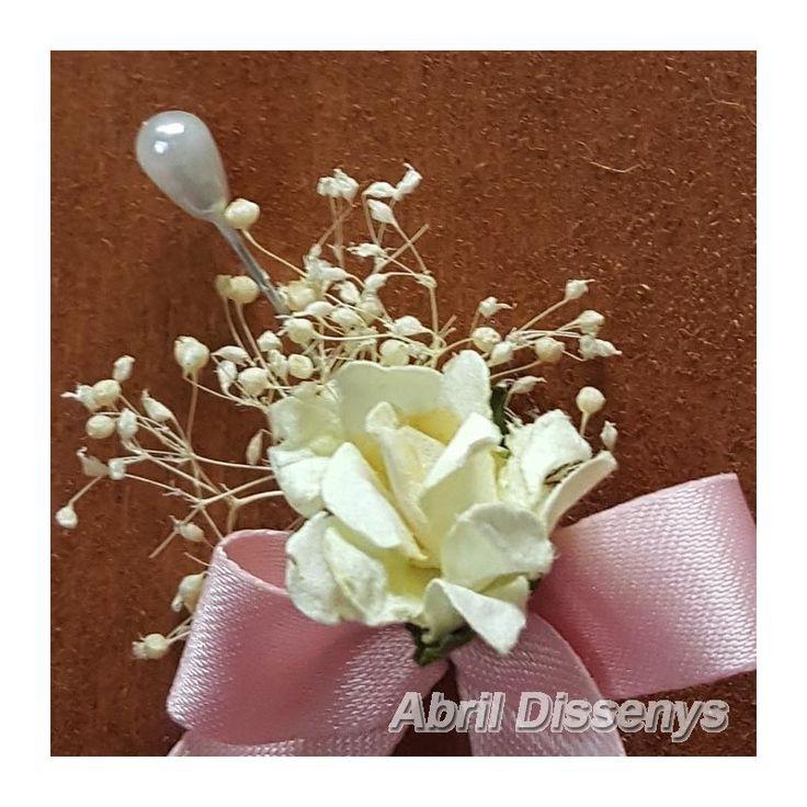 Alfiler Vintage con Flor de Azahar Lazo Rosa