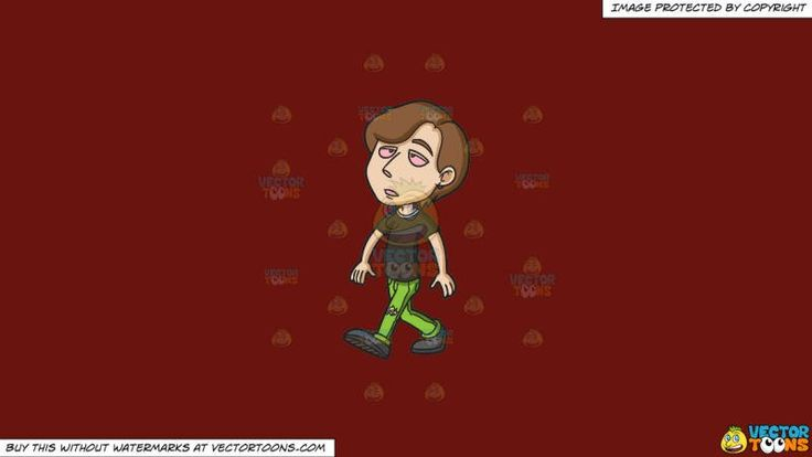 A Young Man Looking High While Walking On A Solid Maroon 69140e Background:   A guy with brown hair wearing a black shirt ripped green pants and black shoes walks aloof while looking stoned eyes all droopy and red