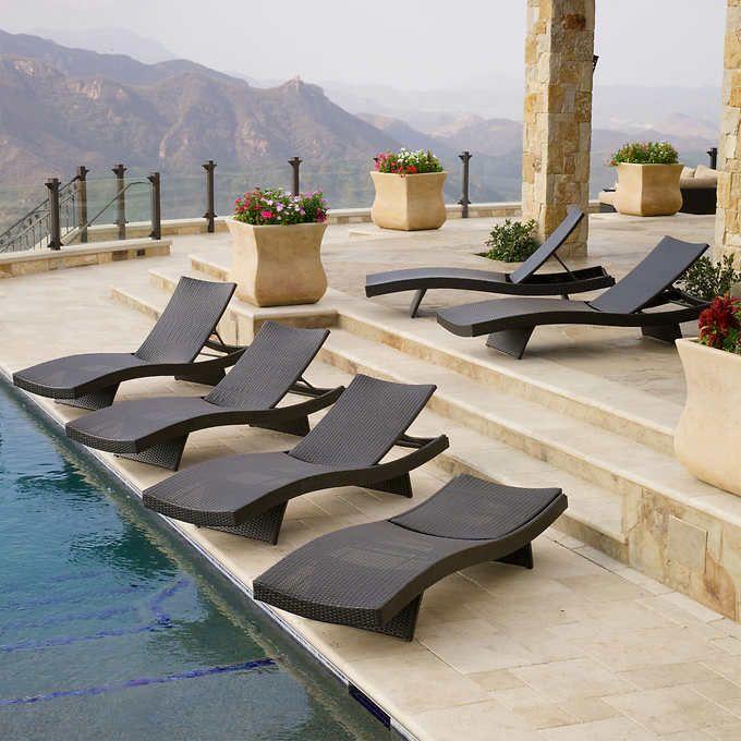 Portofino Comfort Woven Wave Loungers in Espresso - CostCo.  Set of 6 for $1,499.