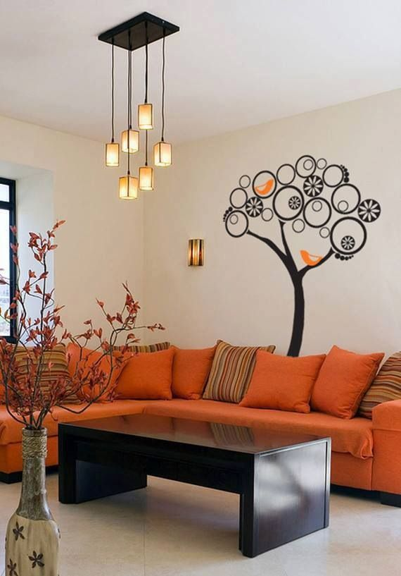 93 best images about vinilos decorations on pinterest orange living rooms white cherry - Orange living room walls ...