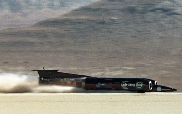 Thrust SuperSonic Car in the Black Rock Desert, USA, crossing the measured mile in 1997 with Andy Green at the controls. With a top speed of 763mph Green became the fastest man on the planet - and the first to break the sound barrier on land. He now hopes to smash this record with the 1,000mph Bloodhound SSC
