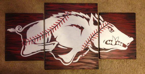 Arkansas Razorback Baseball Painting on Etsy, $80.00 = LOVE ❤❤❤