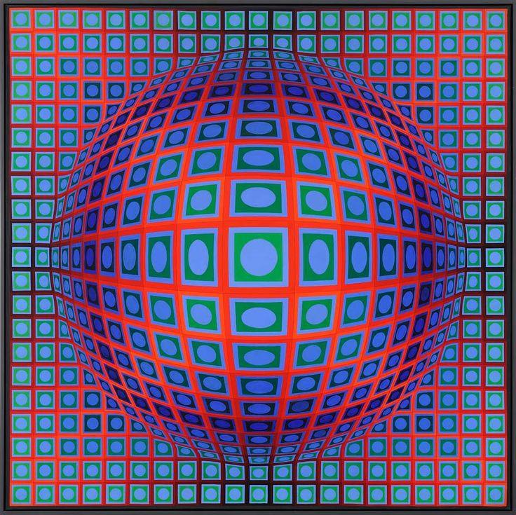 victor vasarely Gewoonlijk werkte Vasarely in zwart-wit  latere werken