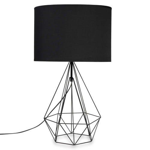 Lampe aus Metalldraht mit schwarzem Lampenschirm DIAMANT
