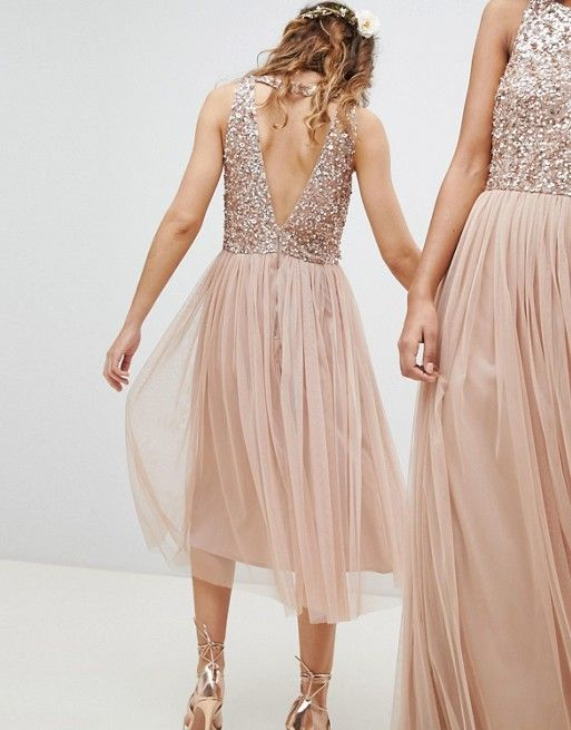 b30e90fad9c6 Maya | Maya Sleeveless Sequin Bodice Tulle Detail Midi Bridesmaid Dress  With Cutout Back