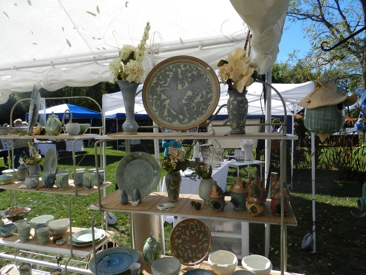 Art Fair vendor Theresa Wooden displays her work at Northwind Perennial Farm in Burlington, WI. The art fair is held in September each year.