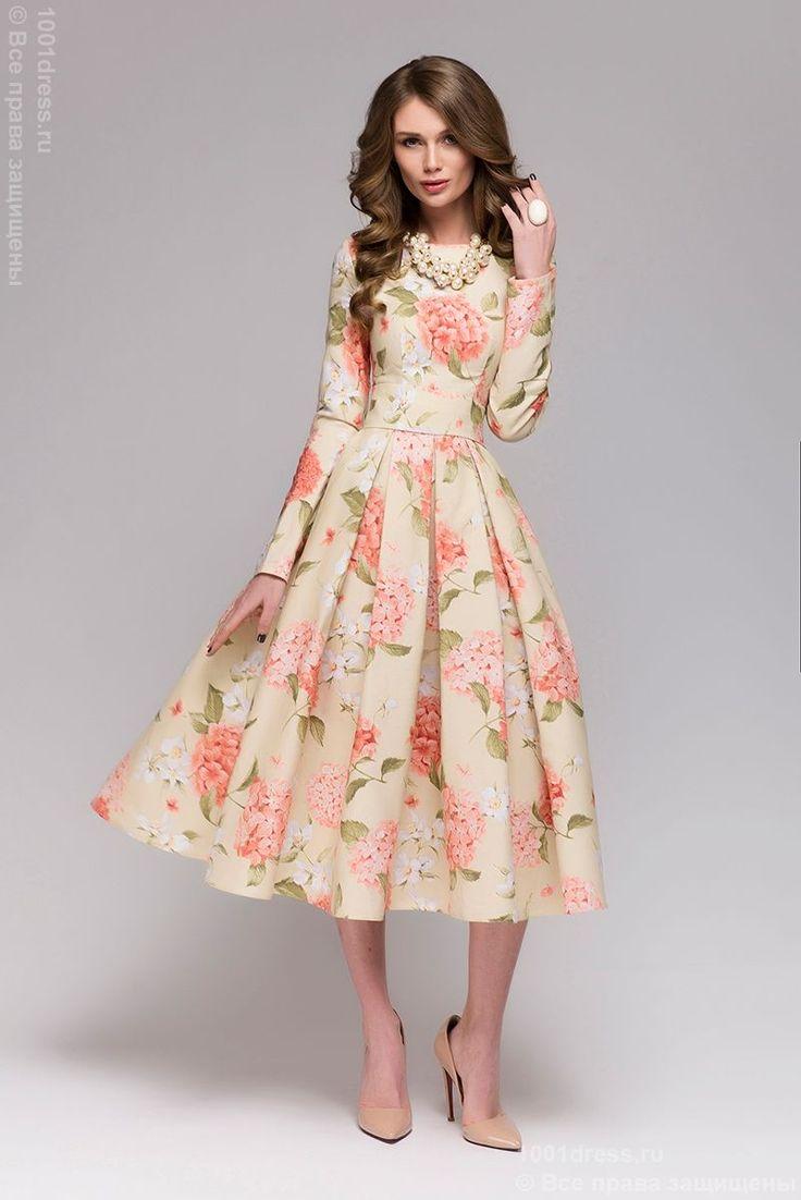 Купить ванильное платье длины миди с цветочным принтом и длинными рукавами в интернет-магазине 1001 DRESS