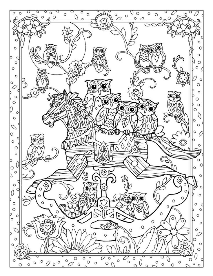 creative haven owls coloring book by marjorie sarnat rocking horse